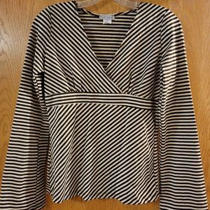 Women's Size L EUC Striped Sparkly Long Sleeve